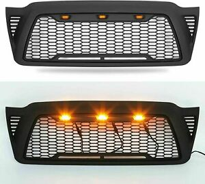 Honeycomb Front Bumper Fits 2005 2011 Toyota Tacoma Trd Pro Black Grille W Led
