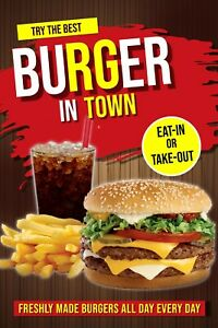 Best Burger In Town Advertising Poster Sign Wall Or Window Advertising 24 x36