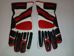 OLYMPIA LEATHER RACE GLOVES MADE W KEVLAR Black White Red Medium $19.50