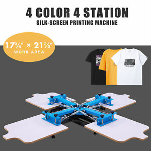 Screen Printing Machine 4 Silk Screen Stations For 4 Color T Shirt Printing More