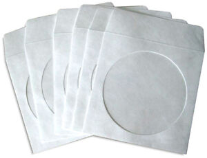 100 pak White tyvek Cd dvd Sleeves With Window And Flap