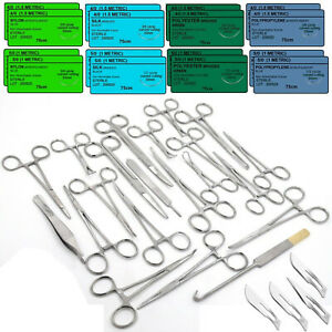 98 Pcs Feline Spay Pack Veterinary Surgical Instruments blades training Sutures
