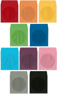 200 pak colored Paper Cd dvd Sleeves With Window Flap 10 Colors Available