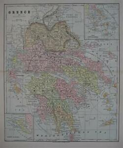 Original Antique Map Greece Cyclades Corfu Athens 1892