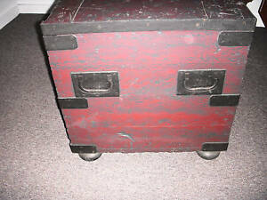Antique Lge Iron Bound Wood Grain Painted Chest Trunk