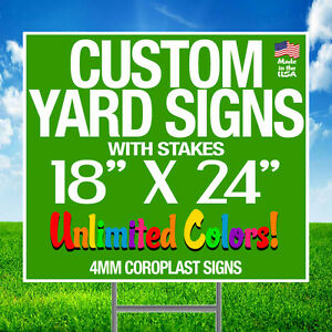 10 18x24 Full Color Yard Signs Custom 2 sided Stakes