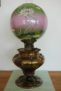 Antique Victorian Gwtw Old Arts And Crafts Art Nouveau Deco Kerosene Oil Lamp