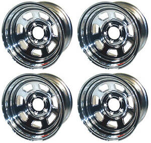 New 15x8 Allied Racing Wheel Set Chrome 5 X 5 Bs 5 Chevy Buick Gm Olds Gmc