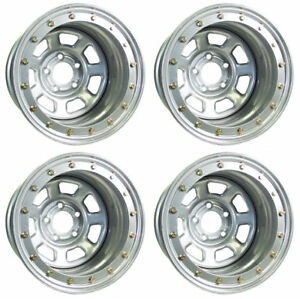 New 15x8 Beadlock Racing Wheel Set silver 5 X 5 1 Bs chevy buick gm olds gmc