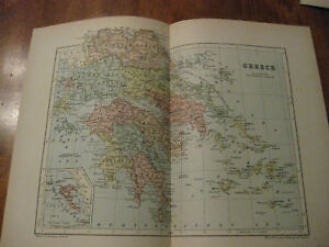 Nice Antique Map Of Greece C 1895 Johnston
