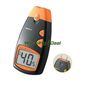 Digital Wood Building Material Moisture Meter Thermometer Humidity Damp Tester