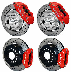 Wilwood Disc Brake Kit 64 72 Chevelle 6 4 Piston Red Calipers 12 Drilled Rotors