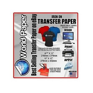 Inkjet Ink Dark Heat Transfer Paper T shirt Heat Press 8 5 X 11 100pk Bl