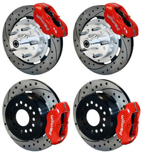 Wilwood Disc Brake Kit 1956 Chevy Corvette 12 Drilled Rotors red Calipers