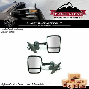 Trail Ridge Tow Mirror Power Heated Signal Memory Chrome Pair For Chevy Gmc New