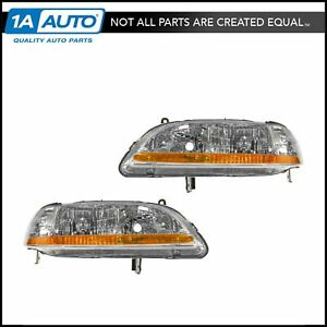 Headlights Headlamps Left Right Pair Set New For 01 02 Honda Accord