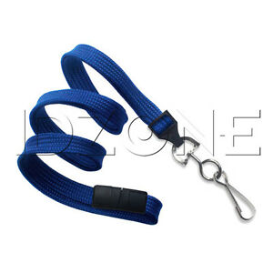 Qty 100 Blue 3 8 Flat Braid Lanyards Breakaway Swivel Hook 2137 5002