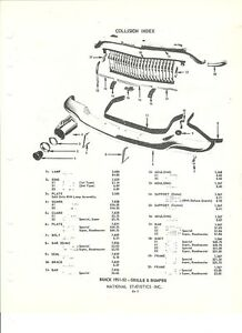 1951 52 53 Buick Super Special Roadmaster Grille Front Bumper Nos Parts Guide