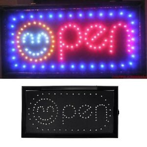 Animated Motion Led Business Smiling Smile Face Open Sign Onoffswitch Light Neon