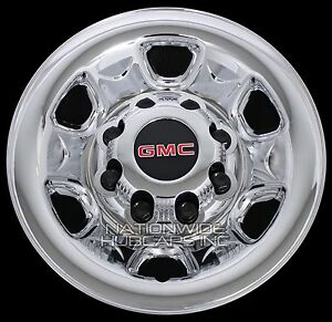 4 Chrome Gmc 2500 3500 Hd 16 8 Lug Wheel Skins Hub Caps Rim Simulators Covers