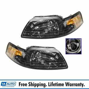 Headlights Headlamps Left Right Pair Set New For 99 04 Ford Mustang