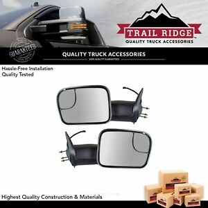 Trail Ridge Towing Mirror Manual Signal Chrome Pair Set For 94 01 Ram Pickup New