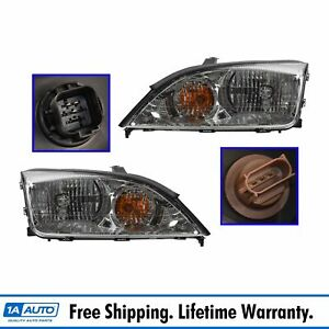 Front Headlights Headlamps Lights Lamps Pair Set Lh Rh For 05 07 Ford Focus Zx4