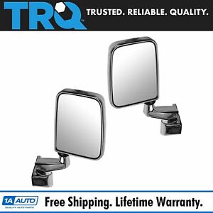 Manual Side View Mirrors Folding Chrome Pair Set New For 87 02 Jeep Wrangler