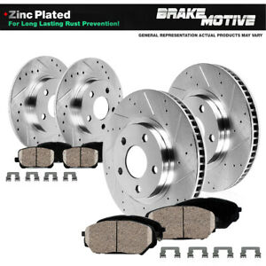Front Rear Drill Slot Brake Rotors Ceramic Pads For 2003 2006 Acura Mdx