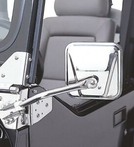 Smittybilt 55 86 Jeep Cj5 Cj7 Stainless Steel Side Mirrors Hood Catch Kit