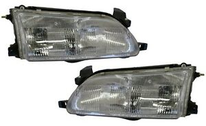 New Replacement Headlight Assembly Pair For 1993 97 Toyota Corolla