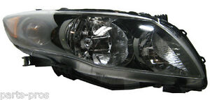 New Replacement Black Headlight Assembly Rh For 2009 11 Toyota Corolla S