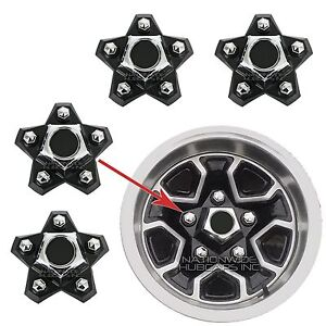 4 El Camino Monte Carlo Rally Wheel Center Hub Caps Black 5 Star Lug Nut Covers