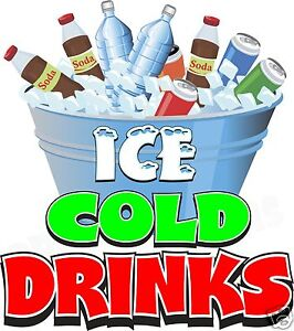 Ice Cold Drinks 24 Decal Water Soda Concession Food Truck Cart Viny Sticker