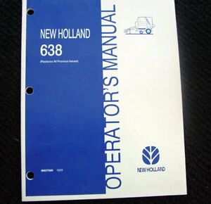 Original 2001 02 New Holland 638 Baler Operators Manual Very Nice