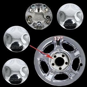 1997 2004 Ford Expedition F150 17 Chrome Wheel Center Hub Caps Lug Nut Covers