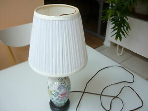 Vintage Table Lamp Porcelain Ceramic W Shade Floral Butterfly Gl6