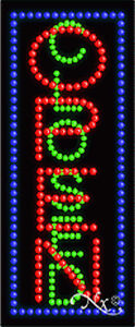 New open Closed Vertical 27x11 Solid animated Led Sign W custom Options 21012