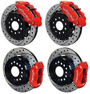 Wilwood Disc Brake Kit 2005 newer Ford Mustang 13 12 Drilled red Calipers
