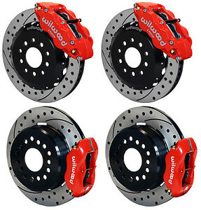 Wilwood Disc Brake Kit 2005 2014 Ford Mustang 13 12 Drilled red Calipers