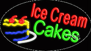 New ice Cream Cakes 30x17 Oval Solid flash Neon Sign W custom Options 14433