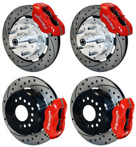 Wilwood Disc Brake Kit 69 70 Impala 12 Drilled Rotors 4 Piston Red Calipers