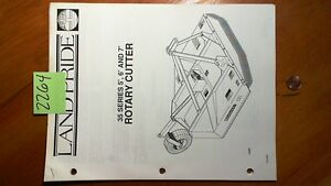 Land Pride 35 Series 5 6 7 Rotary Cutter Owner s Operator s Manual W Parts
