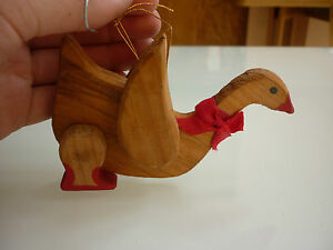 Vintage Christmas Tree Ornament Rustic Goose Wood 214