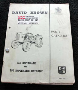 Original 1964 David Brown 950 Implematic Livedrive Tractor Part Manual