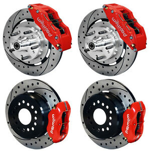 Wilwood Disc Brake Kit 65 68 Impala 12 Drilled Rotors 6 Piston Front red Calip