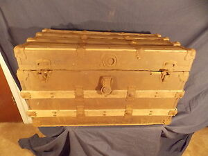 1800 S Circa Antique Restorable Victorian Flat Top Steamer Trunk Chest