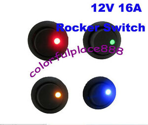 100pcs Red Yellow Blue Green Dot Led 12v Dc Car Rocker Off on Spst Switch 16a