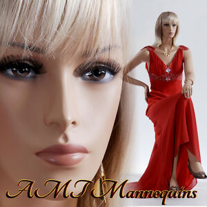 Female Mannequins Full Body Sitting Realistic Hand Made Pedestal 1 Wig