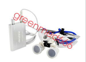 Dental Surgical Medical Binocular Loupes 3 5x 420mm Glass led Head Light Ce Fda
